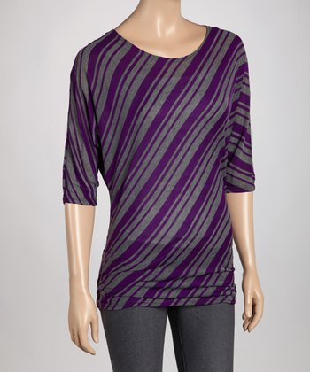 Purple & Charcoal Diagonal Stripe Top