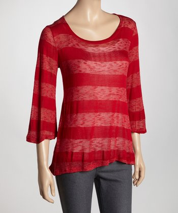 Burgundy Burnout Stripe Scoop Neck Top