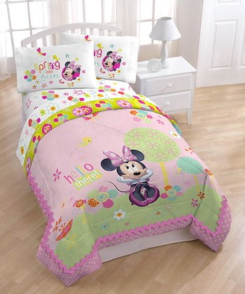 Pink Minnie Garden Party Comforter Set