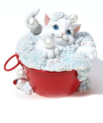 Bubble Bath Cat Figurine