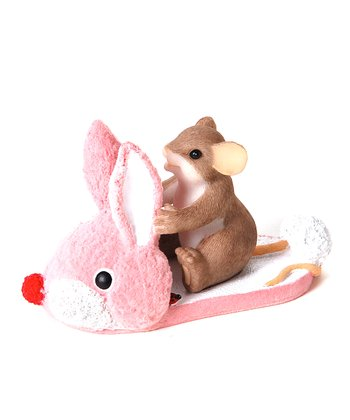 Bunny Slipper Mouse Figurine