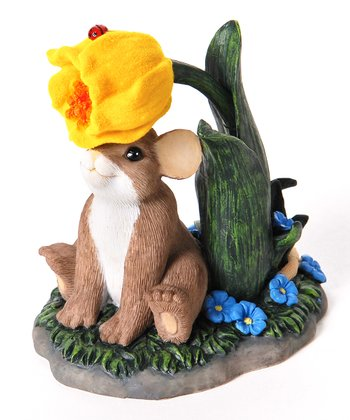 Yellow Flower Mouse Figurine