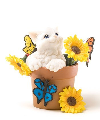 Sunflower Pot Cat Figurine