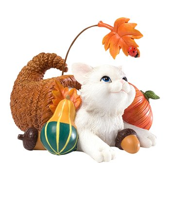 Cornucopia Cat Figurine