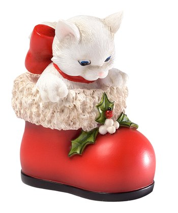 Red Boot Cat Figurine