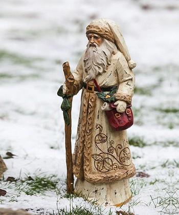 Gold Overcoat Santa Figurine