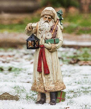 Old World Santa & Lantern Figurine