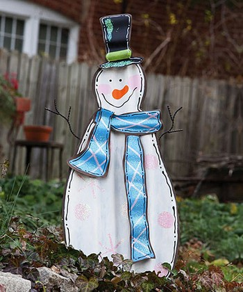 Blue Scarf Snowman Garden Stake