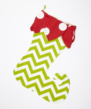 Red & Green Polka Dot & Zigzag Pennant Elf Stocking
