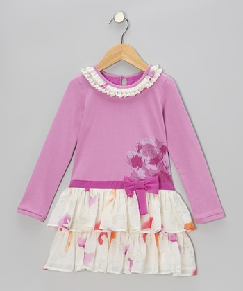 Purple Flower Tiered Ruffle Dress - Toddler & Girls