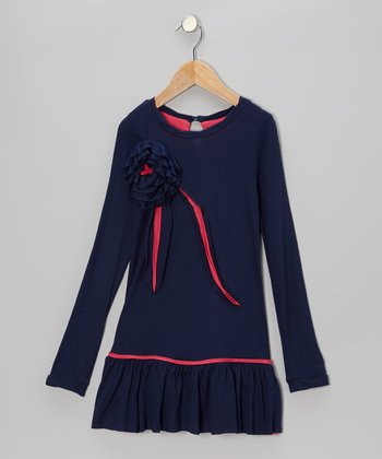 Navy & Pink Flower Drop-Waist Dress - Toddler & Girls