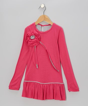 Fuchsia & Gray Flower Drop-Waist Dress - Toddler & Girls