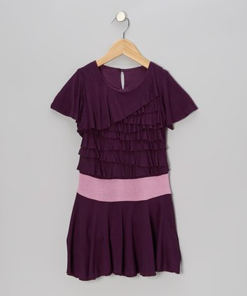 Plum Ruffle Tiered Jersey Dress - Toddler & Girls