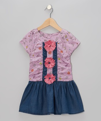 Purple & Denim Vintage Flower Dress - Toddler & Girls