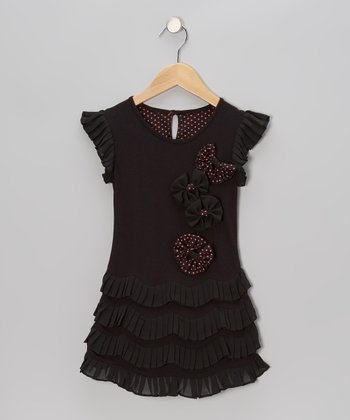 Black Polka Dot Tiered Dress - Toddler & Girls