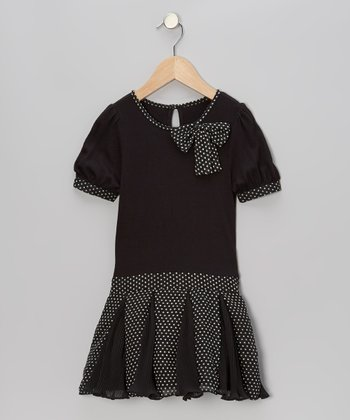 Black Polka Dot Drop-Waist Dress - Toddler & Girls