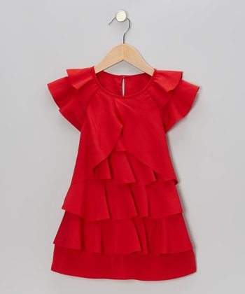 Red Angel-Sleeve Tiered Dress - Toddler & Girls