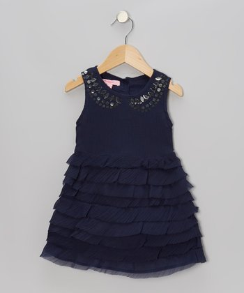 Navy Sequin Ruffle A-Line Dress - Toddler