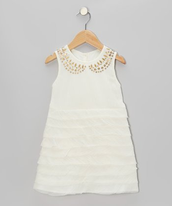 Cream Sequin A-Line Dress - Girls
