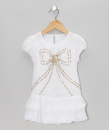 White Sequin Drop-Waist Dress - Toddler & Girls