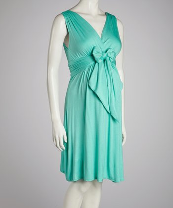 Dark Mint Knot Maternity Surplice Dress