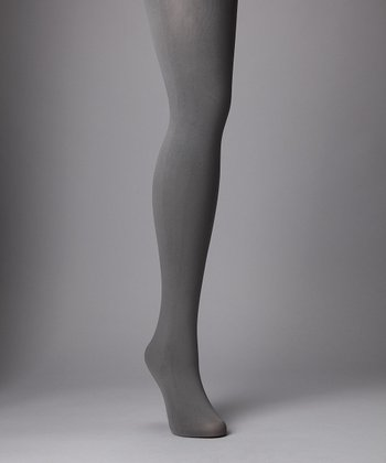 Gray Completely Opaque Tights - Plus