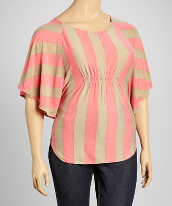 Pink & Beige Stripe Shirred Cape-Sleeve Top - Plus