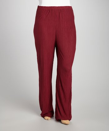 Burgundy Crinkle Pants - Plus