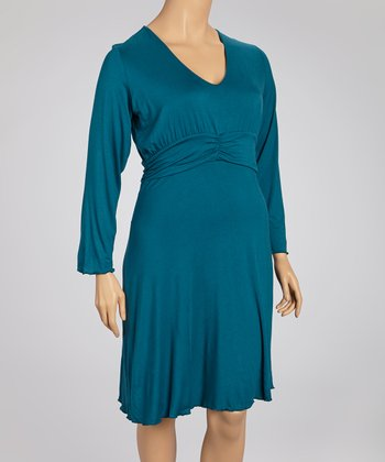 Teal Long-Sleeve Dress - Plus