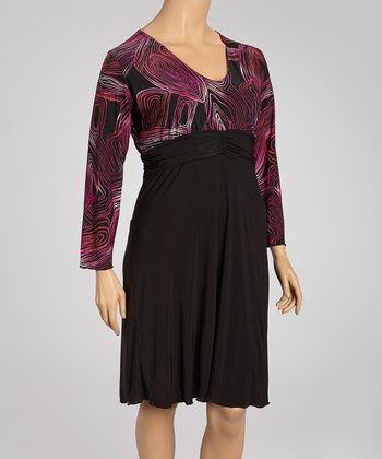 Black & Magenta Geo Lines Long-Sleeve Dress - Plus