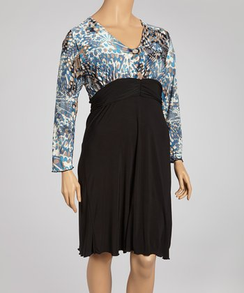 Blue & Black Long-Sleeve Dress - Plus
