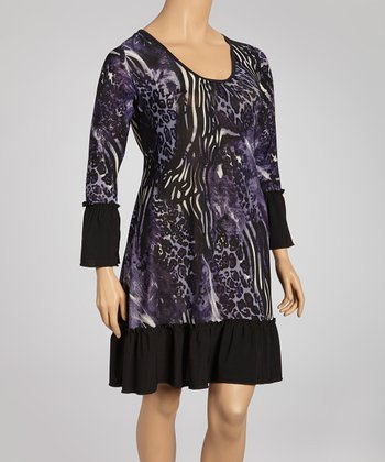 Purple Animal Long-Sleeve Shift Dress - Plus