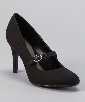 Black Tower Buckle Pump