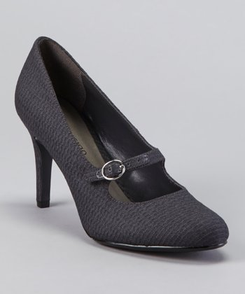 Gray Tower Buckle Pump