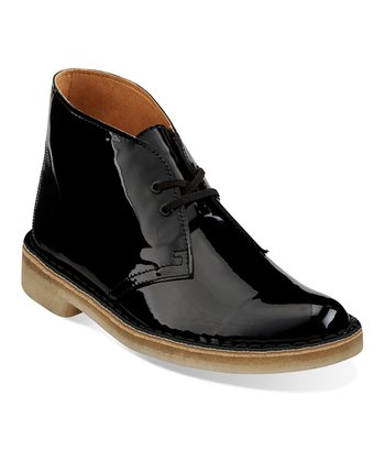 Black Patent Desert Boot - Women