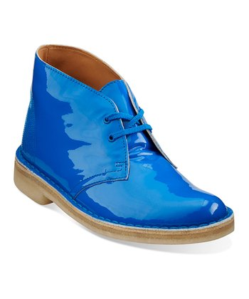 Blue Patent Desert Boot - Women