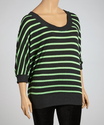 Charcoal & Neon Green Scoop Neck Sweater - Plus