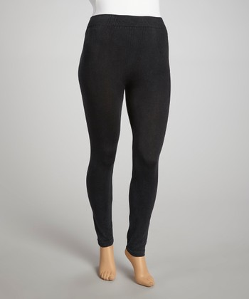 Black Seamless Distressed Jeggings - Plus