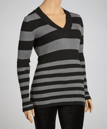 Black & Heather Gray V-Neck Stripe Sweater - Plus