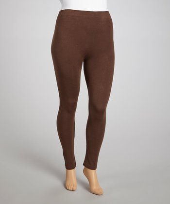 Brown Seamless French Terry Leggings - Plus
