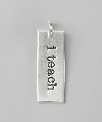 Sterling Silver Expressions 'I Teach' Rectangle Charm