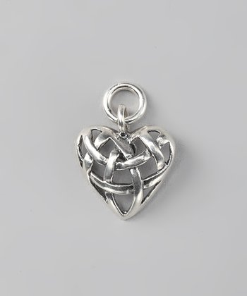 Antiqued Sterling Silver Woven Heart Charm