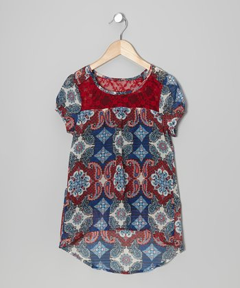 Red Lace Paisley Top - Girls