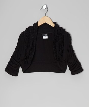 Black Ruffle Shrug - Girls