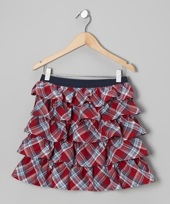 Red Plaid Tier Ruffle Skirt - Girls