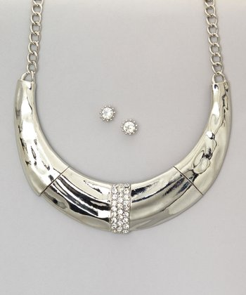 Silver Horn Bib Necklace & Earrings Set