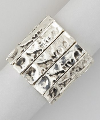 Silver Textured Stretch Bracelet