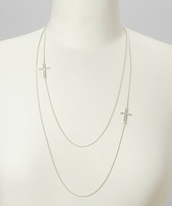 Silver Cross Double Chain Necklace