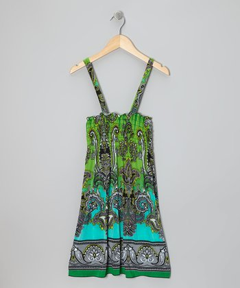 Green Paisley Shirred Dress - Girls