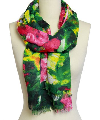 Green Watercolor Flower Scarf